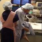 Patient exchange in cath lab at Kihara Cardiovascular Hospital in Japan